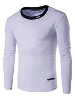 Tee-shirt Hommes,Couleur Pleine Décontracté / Quotidien / Sportif / Grandes Tailles simple Automne / Hiver Manches Longues Col Arrondi