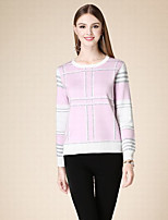 DOF Women's Casual/Daily Simple Short PulloverStriped Pink Round Neck Long Sleeve Cotton Winter Medium Micro-elastic