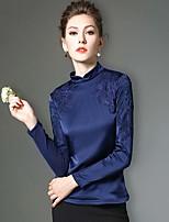 Tee-shirt Femme,Couleur Pleine / Mosaïque / Broderie Travail / Grandes Tailles Hiver Manches Longues Mao Bleu / NoirPolyester / Nylon /