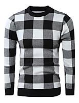 Herren Standard Pullover-Ausgehen Lässig/Alltäglich Einfach Aktiv Schachbrett Rot Schwarz Rundhalsausschnitt Langarm Baumwolle Winter Dick