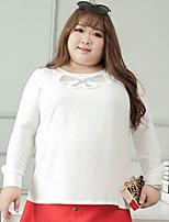 Tee-shirt Femme,Couleur Pleine Décontracté / Quotidien / Grandes Tailles simple Automne Manches Longues Col Arrondi Blanc / Noir Polyester