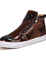 Черный / Серый / Золотистый-Мужской-Для прогулок / Для офиса / На каждый день-Дерматин-На плоской подошве-Удобная обувь-Ботинки