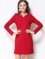 MEIDONGTAI Women's Plus Size / Casual/Daily Simple Shift DressSolid V Neck Above Knee Long Sleeve Red / Black Cotton / Nylon / Spandex Fall / Winter