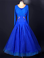Ballroom Dance Dresses Performance Spandex Organza Appliques Crystals/Rhinestones Draped Paillettes 1 Piece Long Sleeve High DressS-XXXL: