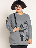 JAZZ  Women's Plus Size / Casual/Daily Simple Regular HoodiesPrint Gray Round Neck Long Sleeve Cotton / Spandex Fall / Winter Medium Stretchy
