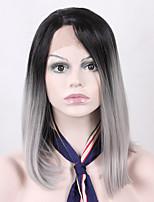 baratos curto bob dois tons raízes negras ombre peruca cinza para o comprimento de ombro das mulheres reta dianteira do laço peruca
