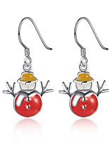 Women Christmas Theme Snowman Eardrop Ear Hook Earrings