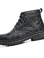 Men's Boots Winter Comfort Cowhide Casual Flat Heel Lace-up Black Brown Walking