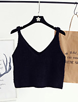 Women's Going out Casual/Daily Cute Short Vest,Solid Pink Strap Long Sleeve Polyester All Seasons Medium Micro-elastic