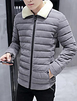 Men's Regular Padded Coat,Simple Casual / Going out Solid-Polyester Polypropylene Long Sleeve Shirt Collar Blue / Black / Gray