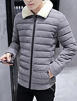 Manteau Rembourré Hommes,Normal simple Sortie Couleur Pleine-Polyester Polypropylène Manches Longues Bleu / Noir / Gris Col de Chemise