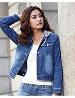 Veste Femme,Couleur Pleine Décontracté / Quotidien simple Manches Longues Bleu Coton Moyen Automne / Hiver