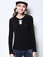 Women's Casual/Daily Plus Size Simple Regular Pullover,Solid Black Gray Round Neck Long Sleeve Polyester Spandex Fall Winter Medium