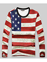 Men's Going out / Casual/Daily Stripes / Simple Regular Hoodies,Striped Red Round Neck Long Sleeve Polyester Fall / Winter Medium
