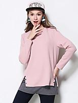 Damen Solide Einfach Lässig/Alltäglich / Übergröße T-shirt,Rundhalsausschnitt Herbst / Winter Langarm Rosa Baumwolle / Polyester Mittel