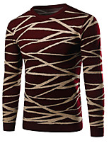 Men's Going out / Casual/Daily Simple / Active Regular Pullover,Jacquard Blue / Red / Black Round Neck Long Sleeve Cotton Winter / Autumn