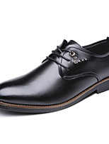Fashion Wedding Shoes For Men's Comfort Oxfords Casual Leather Shoes Party & Evening Low Heel Lace-up Black EU37-42