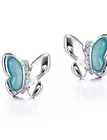 SILVERAGE Sterling Silver Blue Danube Butterfly Stud Earrings
