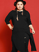 Women's Casual/Daily Plus Size Simple Long Cardigan,Solid Black Round Neck Long Sleeve Cotton Spandex Fall Medium Micro-elastic