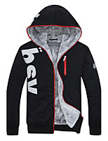 Men's Casual / Plus Size / Sports Active Jackets,Solid Hooded Long Sleeve Fall / Winter Blue / Red / White Polyester Thin