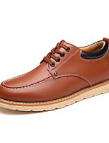 Черный / Коричневый-Мужской-Для прогулок / Для офиса / На каждый день-Дерматин-На плоской подошве-Удобная обувь-Ботинки