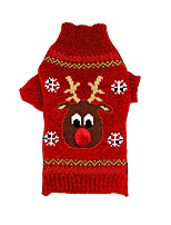 Cat Dog Sweater Dog Clothes Winter Reindeer New Year's Christmas Black Red