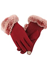 (NOTE - RED WINE) LADY PLUS VELVET TOUCH SCREEN EXPORT IMITATION RABBIT HAIR BALL GLOVES NAGYMAROS