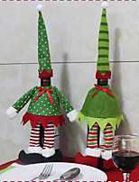 2PC Hot Sale Christmas Decoration Santa Claus Snowman Red Wine Bottle Cover