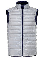 Men's Down Coat,Simple Casual/Daily Solid-Others White Duck Down Sleeveless Black / Gray / Green