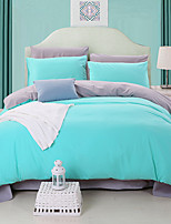 Solid Duvet Cover Sets 4 Piece Cotton  Queen 1pc Duvet Cover /  / 1pc Flat Sheet