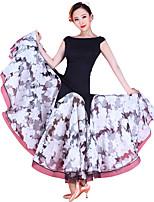 ריקודים סלוניים שמלות ביצועים Chinlon / אורגנזה / טול דפוס / הדפסה חלק 1 בלי שרוולים טבעי שמלות M:119cm-120cm L:122cm-123cm XL:124cm-125cm