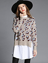 Women's Casual/Daily Simple Regular Pullover,Print Beige Round Neck Long Sleeve Cotton Polyester Fall Medium Stretchy