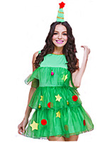 Cosplay Costumes Santa Suits Movie Cosplay Green Solid Dress / Hats Christmas Female Polyester