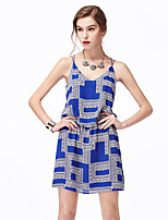 NAKED ZEBRA Women's Casual Street chic Sheath DressPrint V Neck Above Knee Sleeveless Blue / Pink Polyester Summer Mid Rise Inelastic Thin / Medium