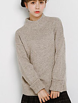 Women's Casual/Daily Simple Long Pullover,Solid Red Gray Turtleneck Long Sleeve Acrylic Fall Medium Micro-elastic