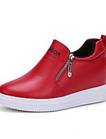 Women's Sneakers Fall Winter Comfort PU Casual Flat Heel Zipper Black Red Other