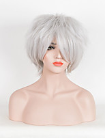 Hot Selling Women White Color Synthetic Wigs Short Curly Wigs