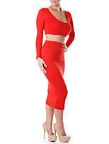 Women's Casual/Daily Simple All Seasons Set Skirt Suits,Solid U Neck Long Sleeve Red / Black Polyester Medium