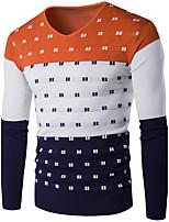 Herren Standard Pullover-Lässig/Alltäglich Einfach Solide Blau / Rot / Grau / Grün / Orange Rundhalsausschnitt Langarm Baumwolle / Acryl