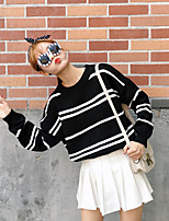 Women's Casual Simple Regular Pullover,Striped Blue / White / Green Round Neck Long Sleeve Polyester Autumn Medium Micro-elastic