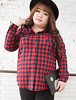 KELIXUAN  Women's Plus Size / Casual/Daily Simple Fall ShirtPlaid Hooded Long Sleeve Red Cotton / Polyester