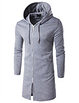 Famous Brand Design Men's Casual/Daily Simple Long HoodiesSolid Red / Gray Hooded Long Sleeve Polyester Winter / Autumn Thick Micro-elastic