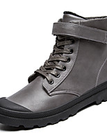 Men's Fashion Combat Boots High Top Shoes Casual Retro Leather Boots Flat Heel Hook & Loop Black / Brown / Gray EU39-43
