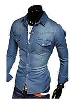 The Spring And Autumn New Korean Cowboy Shirt Washed Slim Long Sleeved Shirt Male