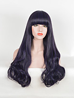Natural Wave Black Purple Synthetic Wigs Heat Resistant Student Wig Daily Trendy Hairstyle