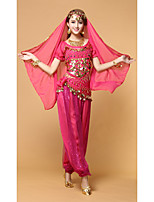 Belly Dance Outfits Performance Nylon Paillettes / Side-Draped 8 Pieces Short Sleeve DroppedTop / Belt / Pants / Necklace / Bracelets /