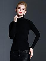 Женский На каждый день Простое Обычный Пуловер Однотонный,Несколько цветов Вырез под горло Длинный рукав Кашемир / Искусственный шёлк
