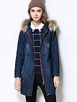 Женский Большие размеры / На каждый день Однотонный Пальто Капюшон,Простое Зима Синий Длинный рукав,Хлопок,Толстая