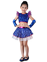 Jazz Outfits Children's Performance Sequined Sequins 4 Pieces Blue / Fuchsia