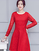 Women's Casual/Daily Cute A Line Dress,Solid Round Neck Midi Long Sleeve Red / Black Others Summer Mid Rise Inelastic Medium